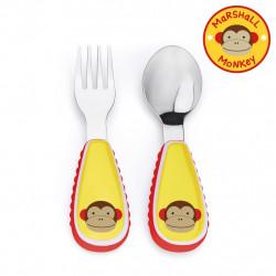 مجموعة أدوات المائدة والشوكة والمعلقة للأطفال الصغار من سكيب هوب, مونكي