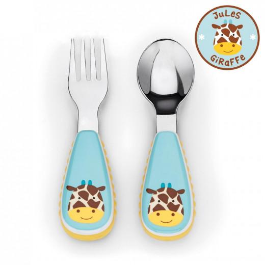 مجموعة أدوات المائدة الشوكة والمعلقة للأطفال الصغار من سكيب هوب, زرافة