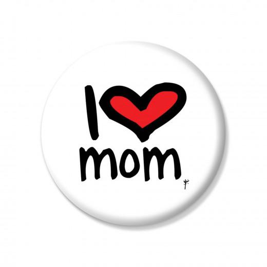 زر دبوس بكتابة انا احب امي بالانجليزية - من واي ام
