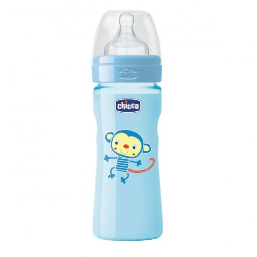 Chicco - Well-Being Bottle 330ml - Silicone (Monkey)