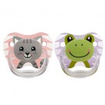 Dr. Brown's 2 Pack Prevent Orthodontic Cat-Frog Pacifier with Clip -(0-6 Months)
