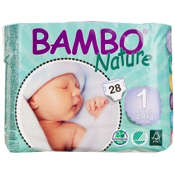 Bambo Nature Baby Diapers Classic, Size 1 (2-4Kg), 28 Count