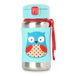 Skip Hop Zoo Stainless Steel Straw Bottle - Owl