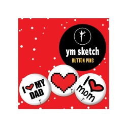 3 Ymsketch Button Pin - 8