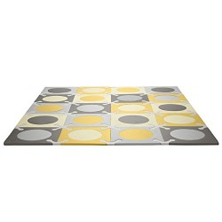 بساط الألعاب الإسفنجي جيو على شكل البلاط باللون ذهبي ورمادي من من سكيب هوب، بتصميم غريب