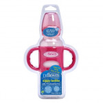 """Dr. Brown's 250 ml Narrow-Neck """"Options compatible"""" Sippy Spout Bottle w/ Silicone Handles, Pink, 1-Pack"""