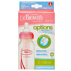 Dr. Brown's 120ml Narrow Neck Options Bottle - Pack of 2 - Pink