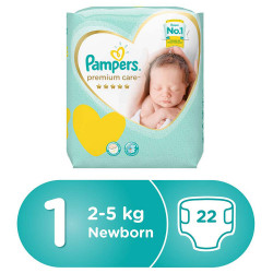 Pampers Premium Care Diapers, Size 1, Newborn, 2-5 kg, Carry Pack, 22 Count