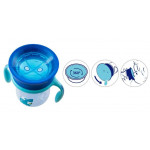 Chicco NaturalFit 360 Degree Rim Trainer Sippy Cup with Handles, in Blue, 200 ml, +12 months