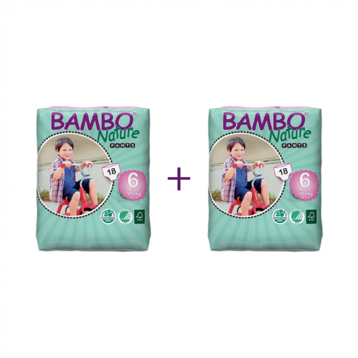 2x Bambo Nature Baby Training Pants Classic, Size 6 (18+ Kg), 18 Count