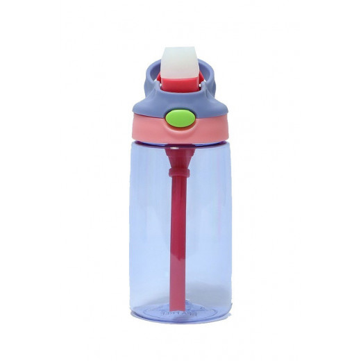 GenioWorld 14 oz Auto Spout Straw Flip Kids Tritan Water Bottle, Purple