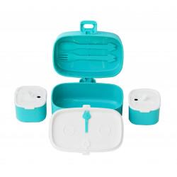 صندوق غداء للأطفال البالغين، طبقة واحدة ومقصورتان صغيرتان، مانعة للتسرب من لوك باك، أزرق