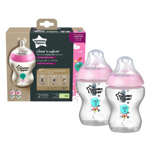 Tommee Tippee Closer to Nature Baby Bottle Decorated Pink, X2 Bottles, 260 ml