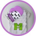 Munch Mitt Teething Mitten, Purple Bows