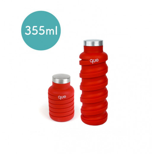 Que Collapsible Water Bottle, Bonfire Red, 355 ml