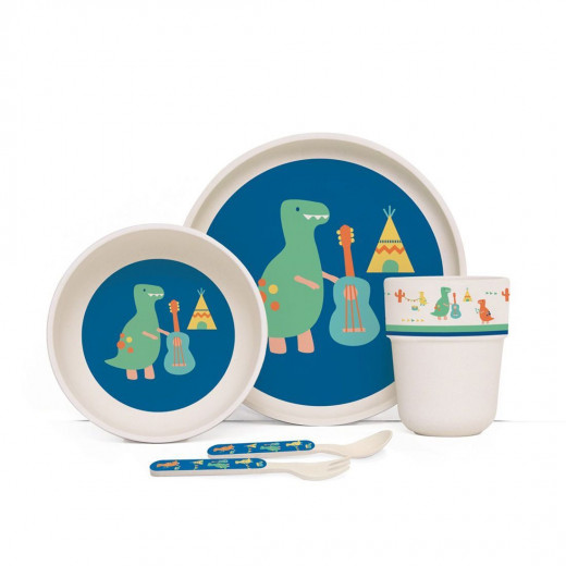 Penny Bamboo Meal Set with Cutlery - Dino Rock