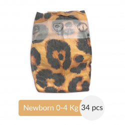 PureBorn - Organic Nappy for New Born, Leopard Print, 0-4 Kg, 34 Nappies