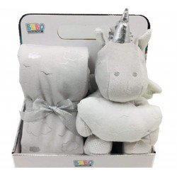 NOVA Blanket With Toys - Unicorn 75x75CM  - Grey