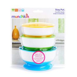 Munchkin Stay Put - Bowl with suction cup, 3 package