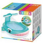 مسبح للأطفال بشكل الحوت مع نافورة مياه من إنتكس، 201 سم × 196 سم × 91 سم