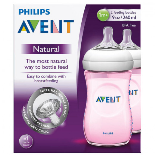 Philips Avent Natural Baby Bottle Slow Flow Teat  260 ml Pink, Pack of 2