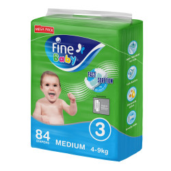 Fine Baby Diapers, Size 3, Medium 4–9kg, Mega Pack of 84 diapers