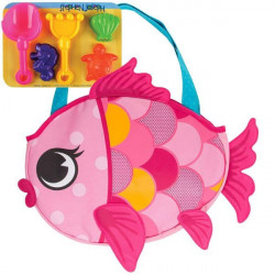 Stephen Joseph Beach Totes with Sand Toy Play Set, Pink Fish