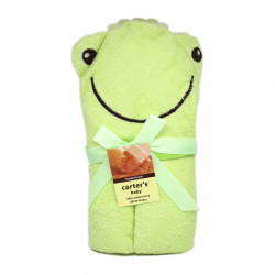 Carter's Friends Boy and Girl Animal Face Hooded Towel, Frog