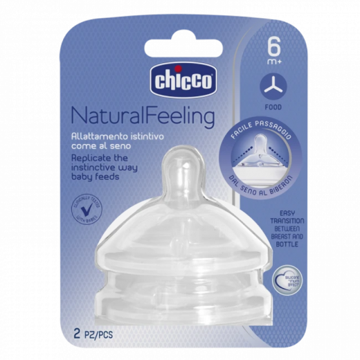 Chicco Natural Feeling Teat 6M+ Food Flow 2 Pcs
