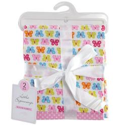 مجموعة مكونة من بطانيتين لحديثي الولادة, باللون الزهري