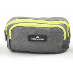 Faber Castell Large Pencil Case 2 Compartment, Light Grey&Yellow