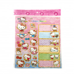 Stickers Name, Hello Kitty Design, 2 Sheets, 27X19 cm