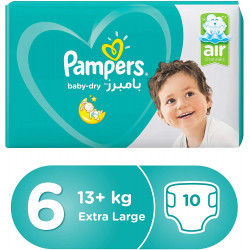 Pampers Baby-Dry Diapers, Size 6, Extra Large, 13+kg, Carry Pack, 10 Count