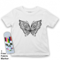 Mlabbas Butterfly Kids Coloring Tshirt - 9-11 years