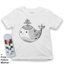 Mlabbas Whale Kids Coloring Tshirt - 2-3 years