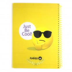 """دفتر ملاحظات مع سلك بتصميم كتابة """"جست بي كول"""" اللون الأصفر من أميجو: 175 صفحة,5 أقسام"""