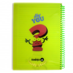Amigo Hey you Wire Notebook, Green, 140 page, 4 subjects