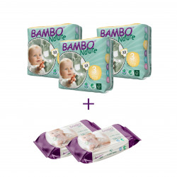 3x Bambo Nature Size 3 (5-9Kg), 33 Count + 2x Bambo Nature Wet Wipes 80 count