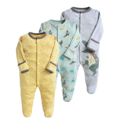 Colorland Long-Sleeve Baby Overall 3 Pieces In One Pack 0-3 Months, Dinosaurs