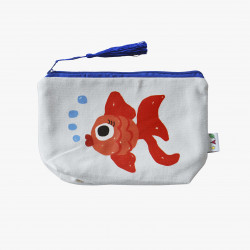 The Orenda Tribe Cotton Canvas Pouch, Fish