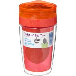 Sistema Twist Sip Tea To Go Travel Mug With Filter, Orange