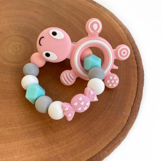 Munch Monsters Teething Ring & Teether, Pink Turtle