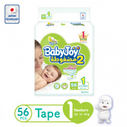 Baby Joy Diapers, Newborn, Size 1, from 0-4 kg ,56 Piece