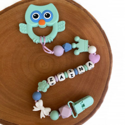 Munch Monsters Personalized Pacifier & Teether Clip, Green Owl