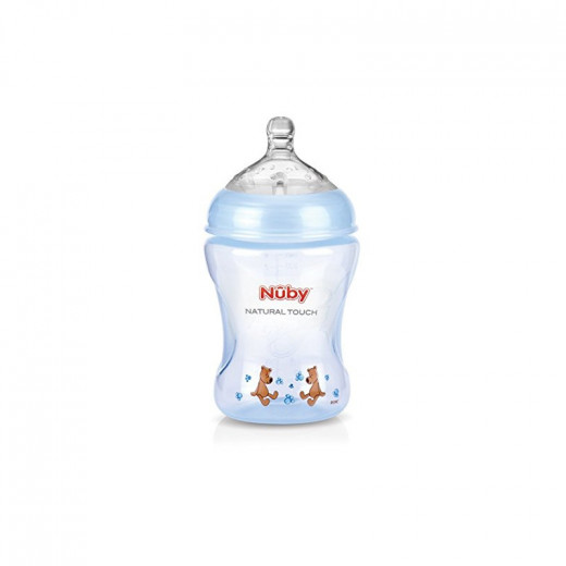 Nuby Natural Touch Softflex Polypropylene Feeding Bottle 240 ml Blue