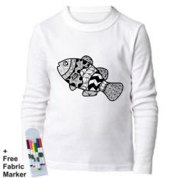 Mlabbas Fish Colored Kids Coloring Long Sleeve Shirt 5-6  years