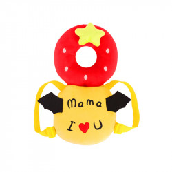 I Love Mama Printed Head Protection Pillow For Babies - Red and yellow