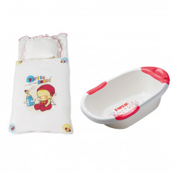 Farlin Package - ( Cot Bedding Set +  Bath Tub With net Dual Color )