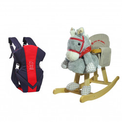 Farlin Package - ( aBaby - Wooden horse + Farlin Front Hold Baby Cuddler, Blue and Red )