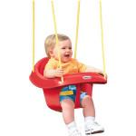 أرجوحة البلاستيكية للأطفال الصغار من ليتل تايكس ذات الظهر العالي مع حزام الأمان ، أحمر